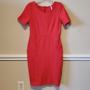 Crew neck red orange staple knit dress size large